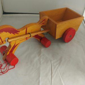 Vintage speelgoed paard en wagen